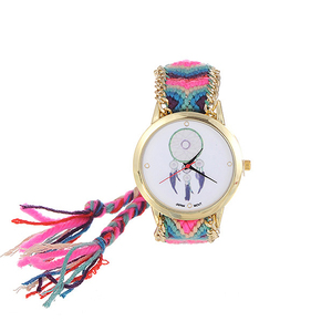 Image 2 - ZHINI Watches Stripe Handwoven Strap Wrist Relojes Vintage Wind Pattern Decorated Hand woven Strap Design Fabric Ladies Watches