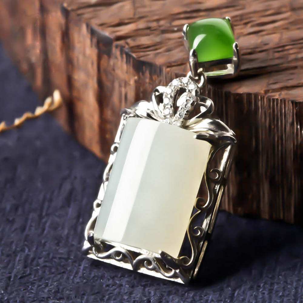 Natural Hetian yu Pendant s925 Silver yu Necklace Chinese style Hand-carved Lucky Amulet jewelry/ wonderful handwork natural grade a green jadeite carved turtle crane lucky amulet pendant free necklace certificate jewelry