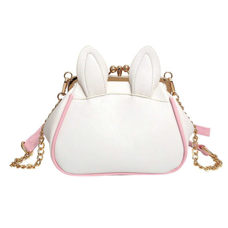 New Women Messenger Bags Shell PU Leather Zipper Purses Chains Strap Shoulder Bags Lovely Cat Phone Purse Crossbody Bag Sac