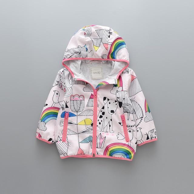 32073162d885 2018 New Baby Girl Jackets Coat Rainbow Cartoon Printed Hooded ...