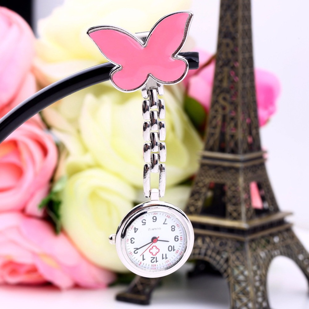 Pocket Medical Nurse Fob Watch Women Dress Watches 4 Color Clip-on Pendant Hanging Quartz Clock Butterfly Shape For Girls Gifts