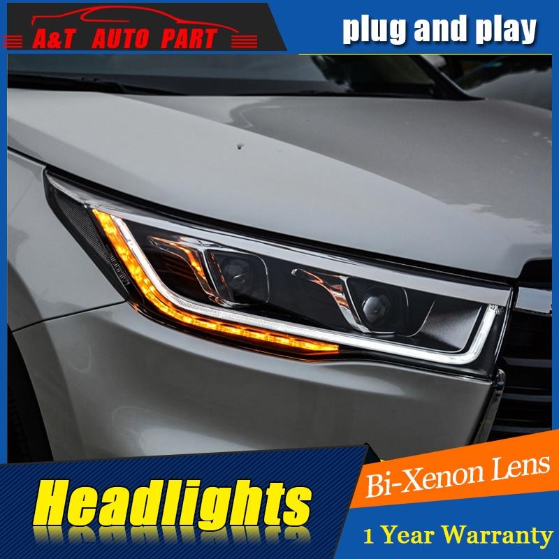 цена на A&T Car Styling For Toyota HIGHLANDER headlights For HIGHLANDER LED head lamp Angel eye led DRL front light Bi-Xenon Lens xenon