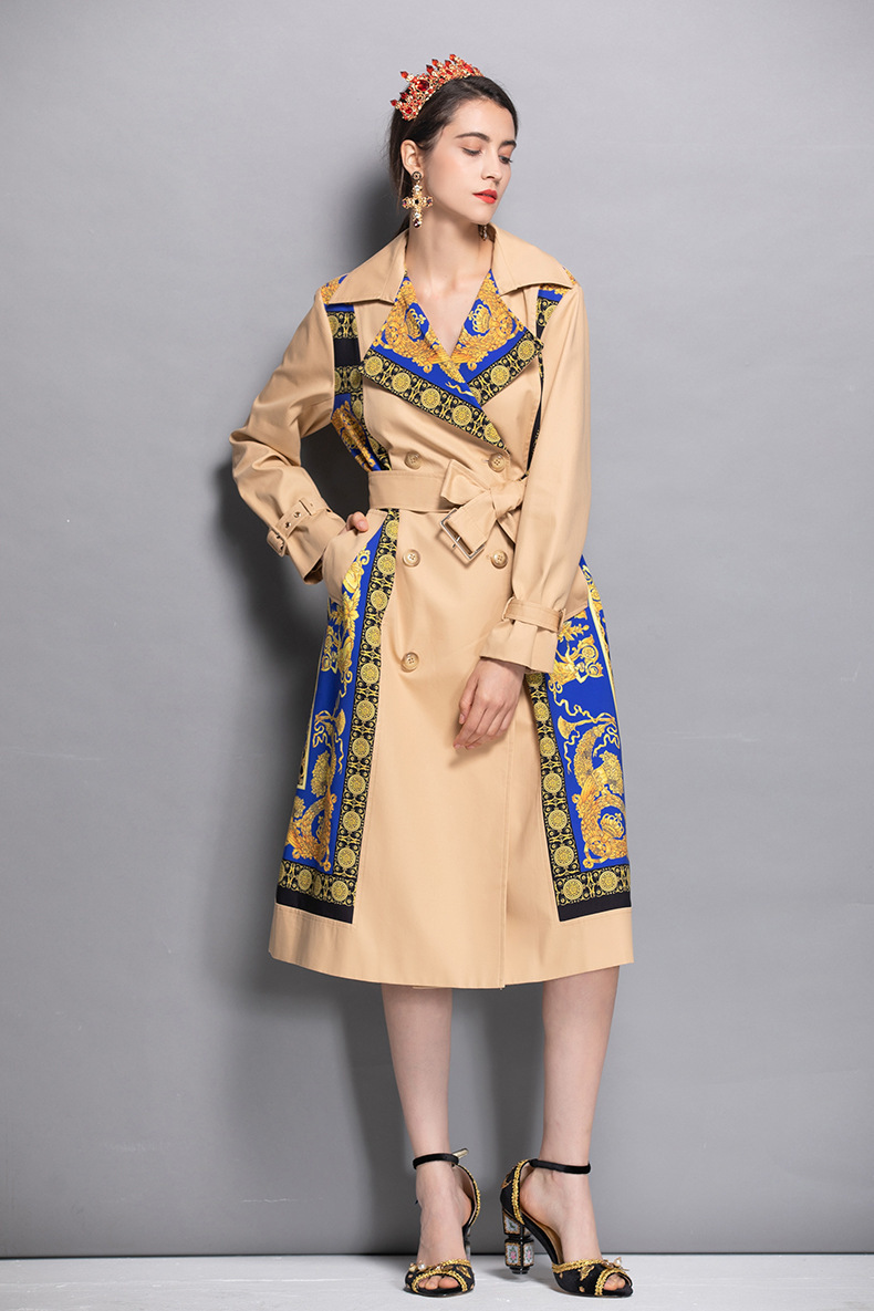2019 Spring Women's Notched Collar Long Sleeves Printed Sash Belt Elegant Fashion Designer Runway   Trench   Coats Outwear