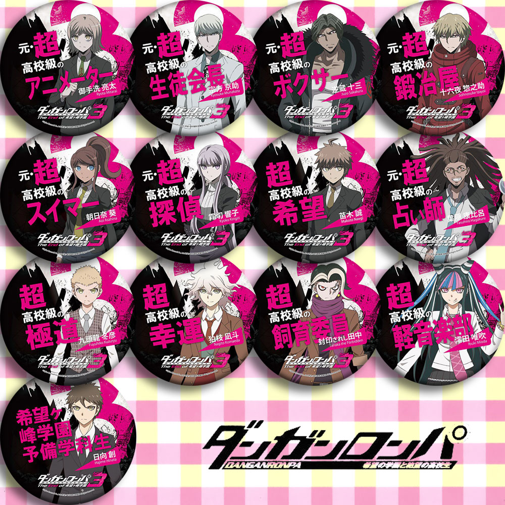 22pcs Anime Dangan Ronpa Character 58mm Badges Monokuma Brooch Pins Collections