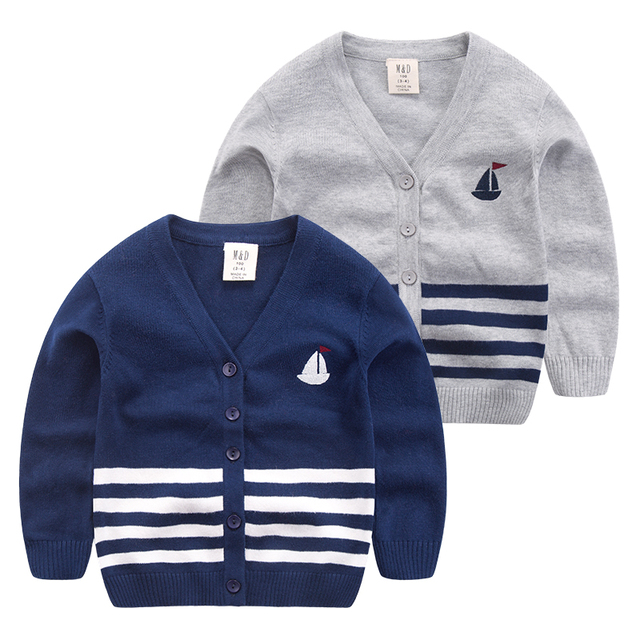 Baby boy knitted cardigan sweater V 2017 spring new boy sailing children casual sweater collar jacket
