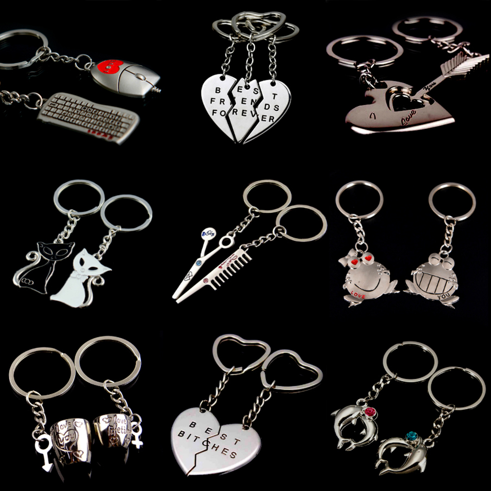 ffbd76aec8 2 Pcs/Set 1 Pair Couple I LOVE YOU Letter Keychain Heart Key Ring Silvery