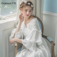 Spring Women Vintage Gown White Cotton Princess Nightgown Ladies Royal Casual Sleepwear Women Night wear European Retro Style