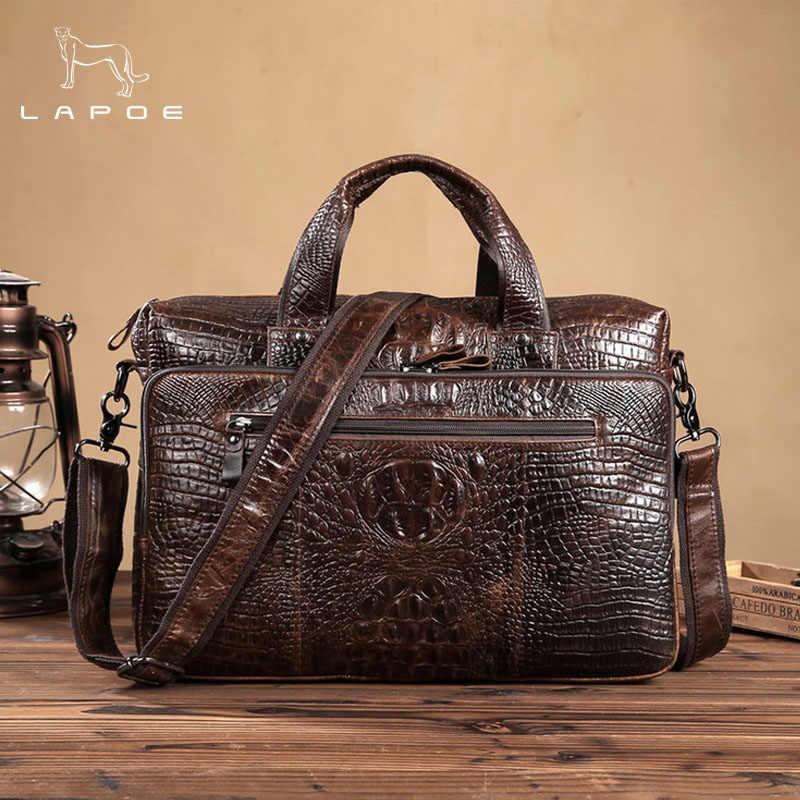 53847d742491 LAPOE Для мужчин сумка из натуральной кожи Для мужчин сумка мужской сумки  через плечо Курьерские сумки