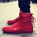 Повседневная Обувь Красный Кожаный Высокий Верх Обувь на Шнуровке Дышащий джастин Хип-Хоп танцы Обувь Кроссовки Личность мотоциклов Сапоги