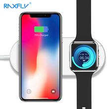 RAXFLY 2 in 1 Qi Wireless Charger For iPhone XS XR X 8 Plus Apple Watch 3 10W Fast Charging Samsung S10 S9 Pad