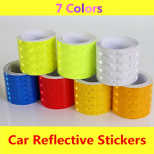 New 5cmx10m white red yellow green blue Safety Mark Reflective tape stickers car-styling arrow square Self Adhesive Warning Tape