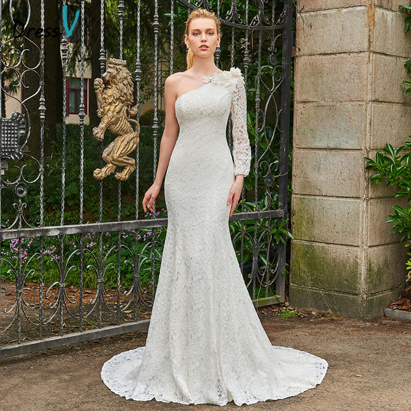 Dressv Ivory Wedding Dress Strapless Long Sleeves Chapel: Dressv Ivory Long Wedding Dress One Shoulder Long Sleeves