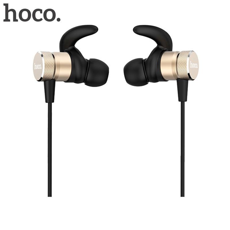 HOCO Original Metal Sports Headset Magnetic Earpiece Wireless Bluetooth 4.2 Dual Stereo Noise Reduction Earphone for Smartphone 8252 original stereo sports gaming noise reduction built in microphone headphones wireless bluetooth headset for iphone samsung