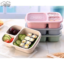 Wheat Straw Bento Box 3 Grid With Lid Microwave Food Biodegradable Storage Container Dinnerware Set Kid Picnic Camping Travel