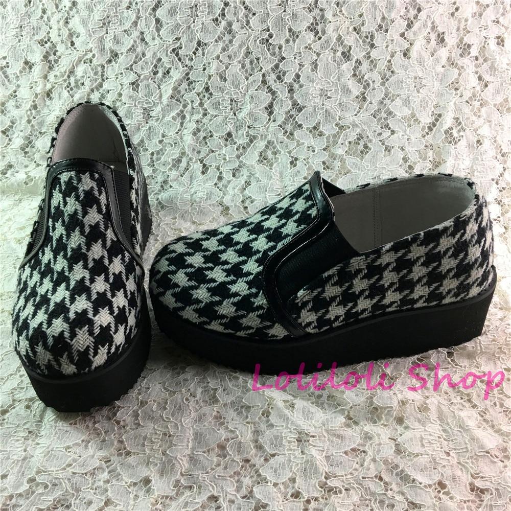 Princesse douce lolita chaussures Lolilloliyoyo antaina chaussures design japonais personnalisé fond épais peau à carreaux sauter-on chaussures plates 5242 s
