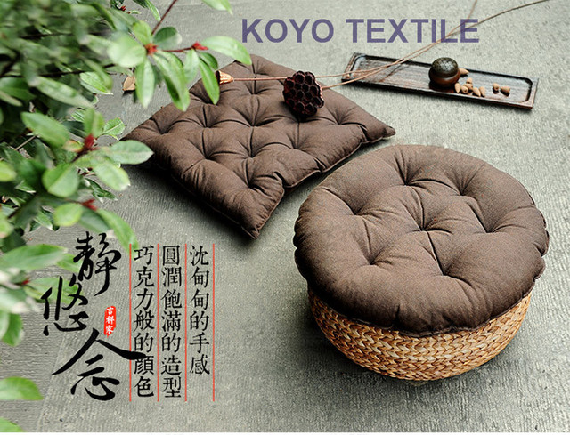 Korean Mediterranean Style Round Sofa Decorative Throw Pillow Back Cushion Pintuck Pouf Seat Pad Bay