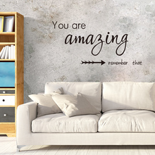 shijuehezi you are amazing remember that wall sticker quotes customized wall decals foe living room office decoration