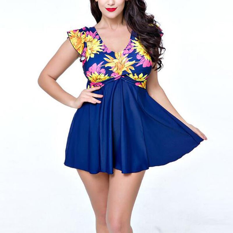 Women's Sexy V-Neck One Piece Swimsuit Plus Size Flower Print Shaping Body Swim Dresses Swimwear Quick Summer Dry Bathing Suit plus size scalloped backless one piece swimsuit