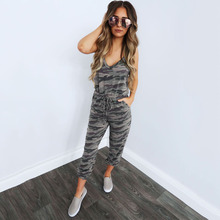 Missufe Camouflage Slim Jumpsuit Spaghetti Strap Drawstring Long Playsuit Elastic Feet Loose Rompers Sporty Overalls For Women недорого
