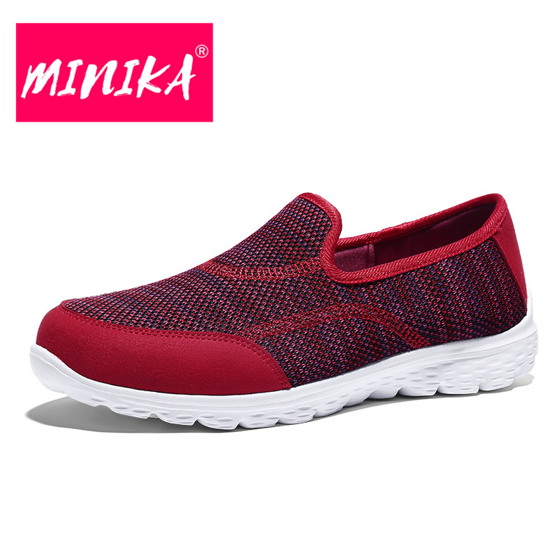 MINIKA New Arrival 2018 Women Casual Shoes Soft & Light Breathable Shallow Flat Shoes Women Comfortable Women Loafers Shoes minika new arrival 2017 women casual shoes soft platform shoes women slip on shallow flat shoes women large size shoes 35 42