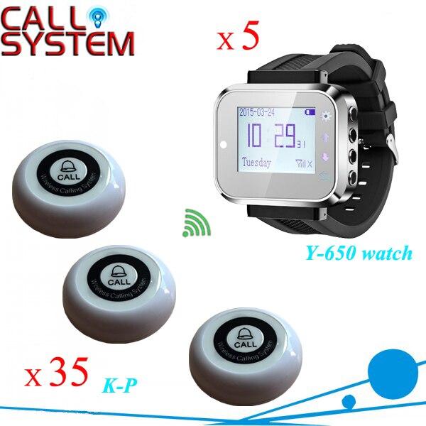 Système calll le moins cher 35 sonnettes de téléavertisseurs et 5 systèmes d'appel de serveur sans fil de poignet de montre intelligente
