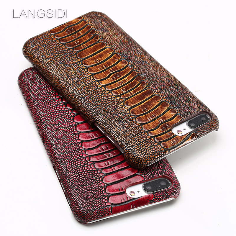 wangcangli brand phone case ostrich foot grain half-wrapped For iPhone 7 handmade custom processing