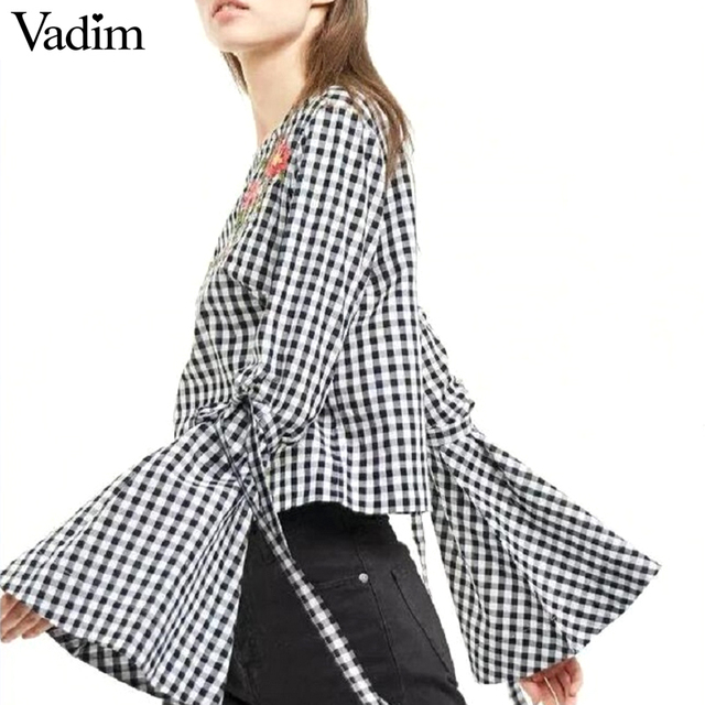 Women sweet flower embroidery flare sleeve shirt long sleeve with tie plaid blouse o neck ladies brand tops blusas LT1577