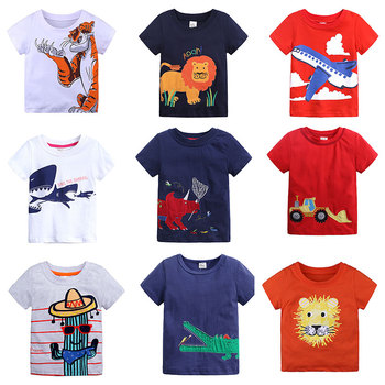 Cotton Boys T Shirt Summer New Cartoon Animal  Printed Short Sleeve T-Shirt For Kids Boys Tee Shirt Tops Girls цена 2017