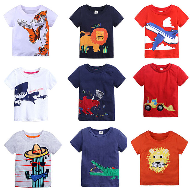97b4b4917 Cotton Boys T Shirt Summer New Cartoon Animal Printed Short Sleeve T-Shirt  For Kids Boys Tee Shirt Tops Girls