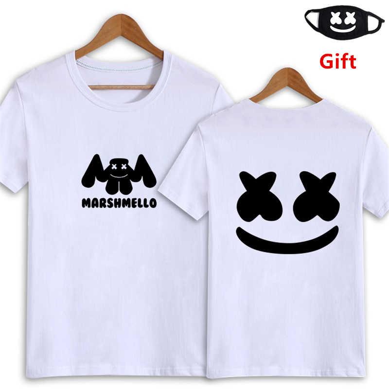 b47c359265 Detalle Comentarios Preguntas sobre Máscara como regalo Marshmello T camisa  blanco y negro de los hombres de algodón Mujer DJ Hip hop rapero Poppin  Jazz de ...