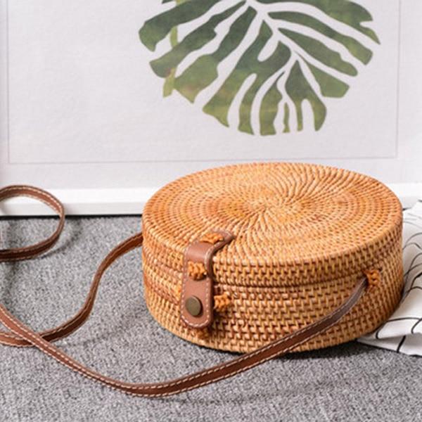 Image 4 - Bali Vintage Handmade Crossbody Leather Bag Round Beach Bag Girls Circle Rattan bag Small Bohemian Shoulder bag-in Shoulder Bags from Luggage & Bags