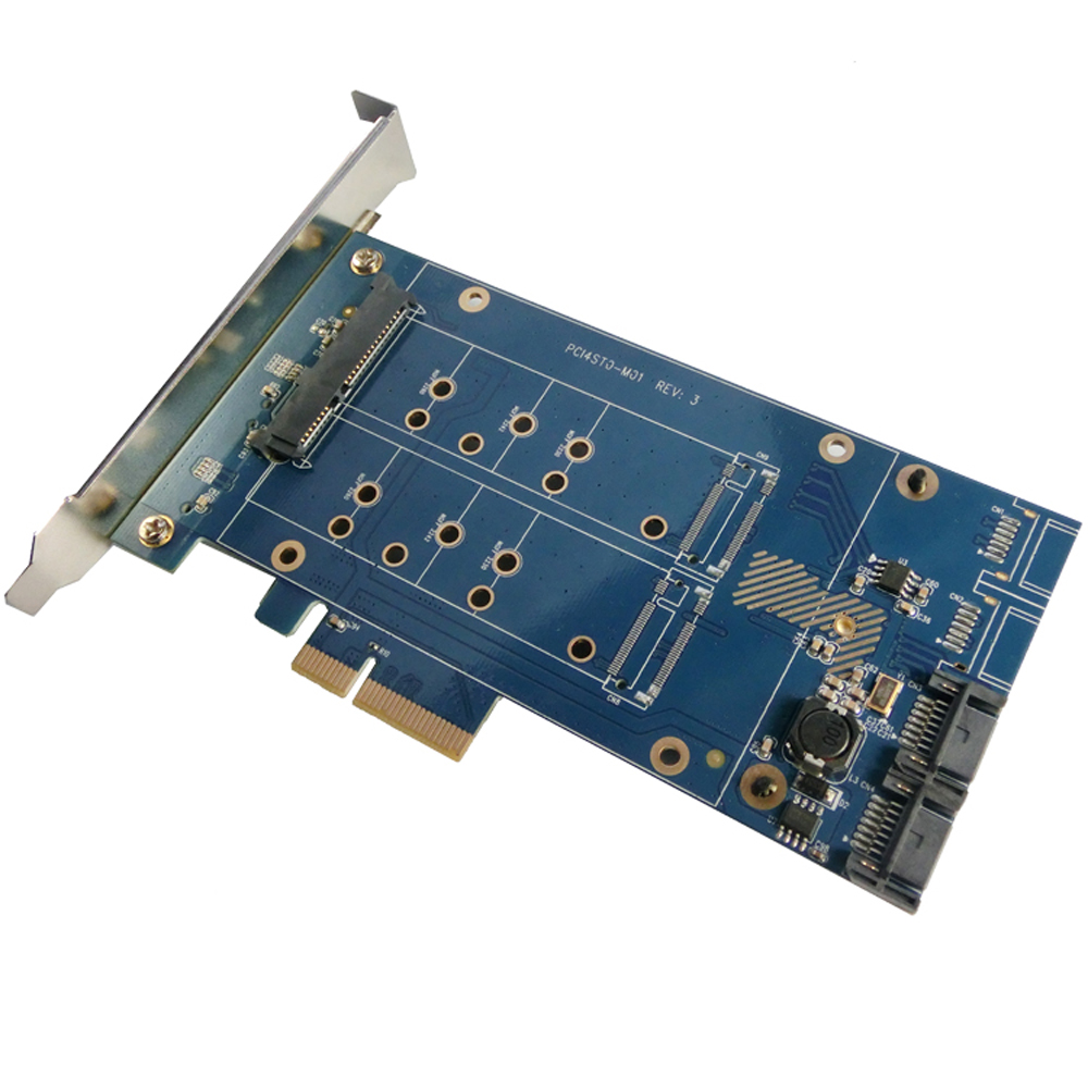 PCIe X4 to 2.5 SATA +m.2+2Port SATA3.0, SATA Riser Card PCIe to SATA 2.5 SSD Adapter PCIe to M.2 Converter With RAID Function stth1004fp to 220f 2