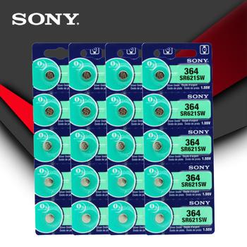 """20pc Sony 100 oryginalny 364 SR621SW V364 SR60 SR621 AG1 bateria zegarka proszę kliknąć na przycisk """" ogniwo monety wykonane w japonii tanie i dobre opinie JP (pochodzenie) 19mAh 1 55V 6 8mm*2 1mm Tlenek srebra"""