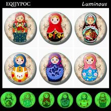 Cute Russian Sleeve Doll Luminous Fridge Sticker 30 MM Glass Magnets for Refrigerators Whiteboard Magnetic Home Decoration