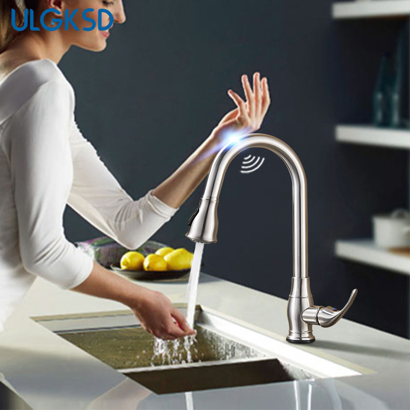 купить Pull Out Sensor Kitchen Faucet Lead-free Stainless Steel Sensitive Touch Control Faucet Mixer Touch Sensor Kitchen Tap недорого