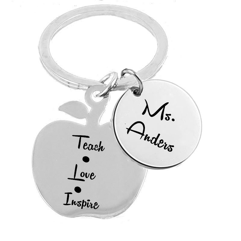 Teachers Day Gift Teacher Appreciation Keychains Stainless Steel Personalized Engraved A ...