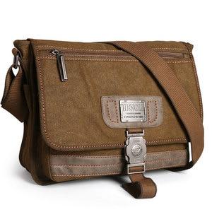 Image 1 - Retro Canvas bag men shoulder bags leisure wear resistant cross messenger bag Unisex casual crossbody Bags Leisure Package