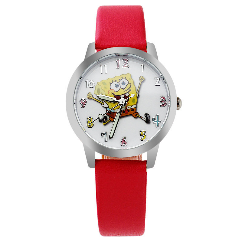 Boys And Girls Love To Watch Spongebob Dial Cartoon Leather Strap Quartz Watch Child Gift Clock Relogio Kids Watches Dress