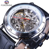Forsining Waterproof Gear Flower Movement Transparent Genuine Leather Men Skeleton Mechanical Automatic Watches Top Brand Luxury