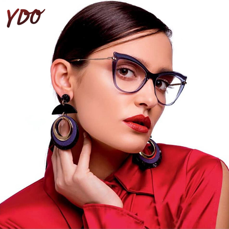 YDO Fashion Cat Eye Glasses Mujeres Lentes Transparentes Lente - Accesorios para la ropa