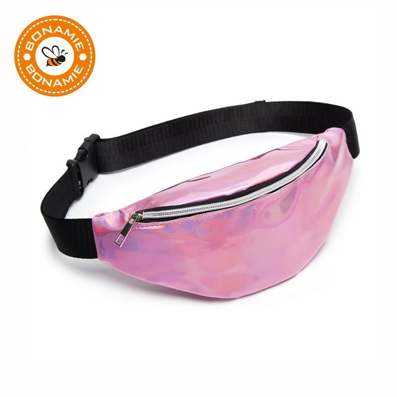 BONAMIE Laser Waist Packs Bags Women Trendy Color Fanny Pack Female Belt Bag Pink PU Waist Packs Laser Chest Phone Pouch New