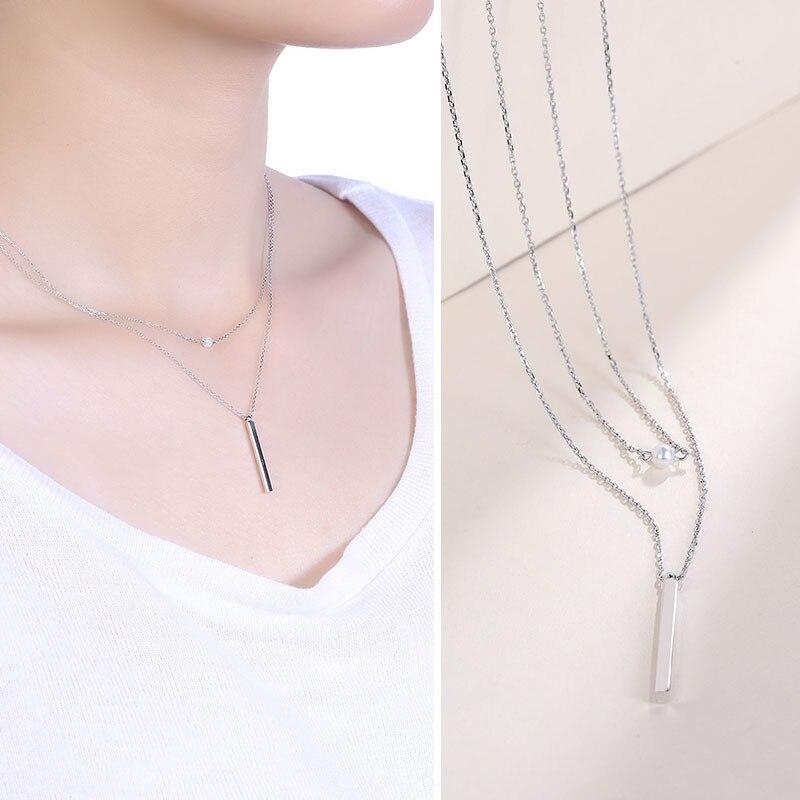 S s925 ожерелье стерлингового серебра женские модные серебро двойной шарик висит палка Сеть ювелирных