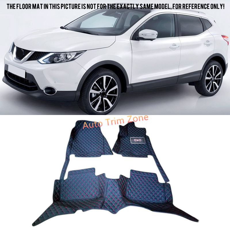Interior Black Leather Floor Mats & Carpets For Nissan Qashqai 2014 2015 2016 J11 black leather interior floor mats
