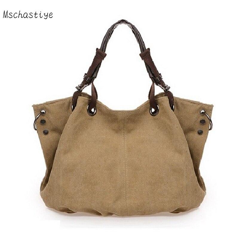Canvas Handbag Large Hobos Bag Ruched Solid Shoulder Bags Ldies Tote Bag