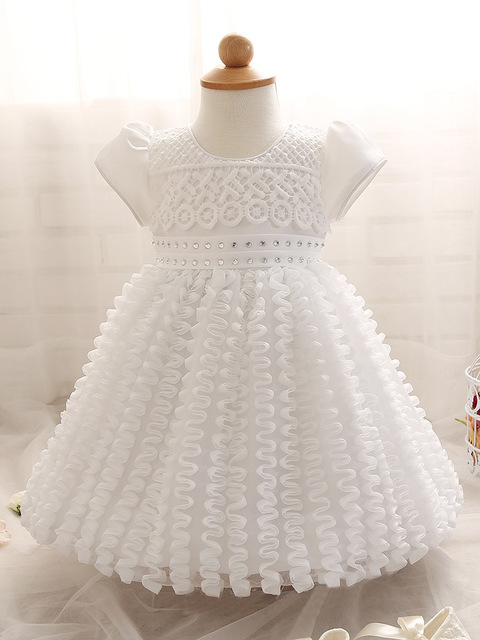 Baby girl dress Christening Gown 1 year birthday dress white wedding dress Baptism cute roupas bebe vestido infantil para festa