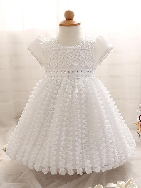 Baby girl dress wedding dress batismo batismo vestido 1 ano de aniversário dress branco bonito roupas bebe vestido infantil parágrafo festa