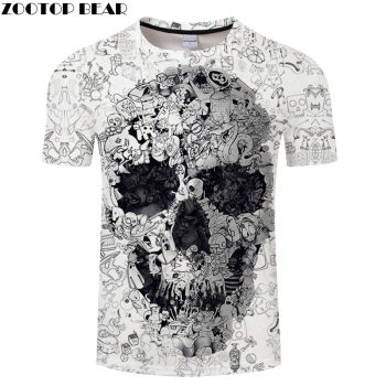 White t shirt 3D Skull tshirt Men T-shirt Male Top Summer Tee Quality Camiseta Short Sleeve O-neck Hip Hop Drop ship ZOOTOPBEAR