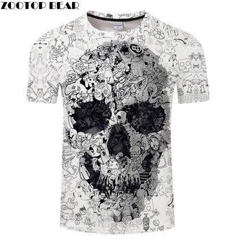 Camiseta blanca 3D calavera Camiseta Hombre Top verano Camiseta calidad manga corta Camiseta cuello redondo Hip Hop gota nave ZOOTOPBEAR