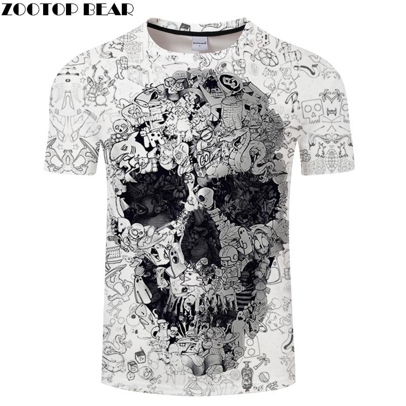 White T Shirt 3D Skull Summer Horror Shirt Male Summer Tee Quality Camiseta Short Sleeve O-neck Mens Hip Hop Shirts ZOOTOPBEAR