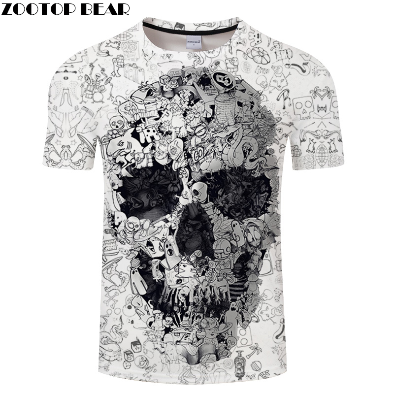 White   t     shirt   3D Skull tshirt Men   T  -  shirt   Male Top Summer Tee Quality Camiseta Short Sleeve O-neck Hip Hop Drop ship ZOOTOPBEAR